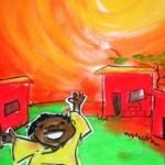 Tekening van een juichend jongetje