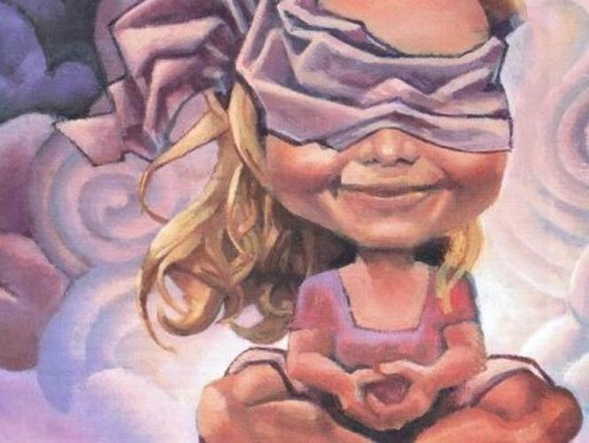 Tekening van meisje dat geblinddoekt mediteert in de wolken